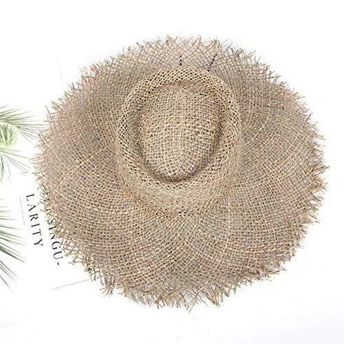 HNGM Sombrero Playa Césped Natural Moda Año Sombrero de Verano Señoras Paja Visera Protección Sol Sombrero Sombrero Ancho Sombrero (Color