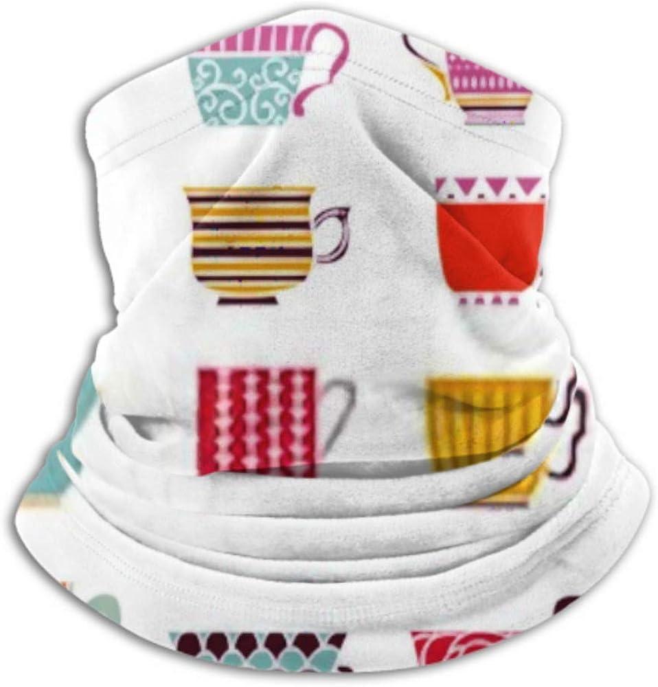 Fleece Neck Warmer ,multifunctional Cute Tea Cups Seamless Pattern Background Scarf,Neck Gaiter, Neck Cap, Neck Scarf, Balaclava, Headwear, Bandana,