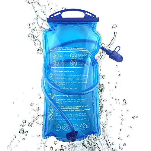 1.5L 2L 3L Trinkblase mit Beissventil, auslaufsicher Wasserbehälter, antibakteriell Trinkbeutel Wasserdichte Trinkrucksack Wanderrucksack für Bergsteigen Campen Kampieren Radfahren Wandern (2L)