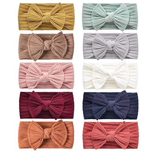LaPettieCo Handmade Baby Headbands Stretchy Nylon Headband with Bows for Newborn Infant Baby Toddler Girls- Pack of 10