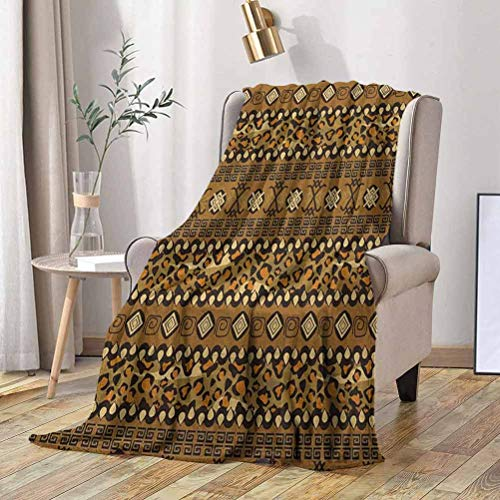W Machine Sky Zambia Travel Blanket Wild Tropical Animal Camouflage Skin Pattern Bohemian Folk Design 60x60 Inch Microfiber Flannel Blankets for Couch, Bed, Sofa