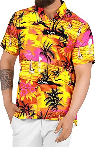 LA LEELA Shirt Camicia Hawaiana Uomo XS - 5XL Manica Corta Hawaii Tasca-Frontale Stampa Hawaiano Casuale Regular Fit Arancia538 3XL