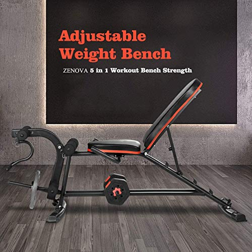 Adjustable Weight Bench - ZENOVA Flat Incline Decline Workout Bench for Home Workout, Multistage Weight Bench Strength Training