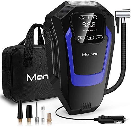 Manwe Luftkompressor, Auto Luftpumpe Tragbare Mini Kompressor Digitaler Touchscreen Mit LED-Taschenlampe, 3 Luftdüsen DC 12V 150 PSI Multifunktionaler Auto-Inflator