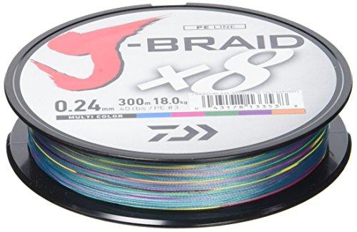 Daiwa J-Braid X8, 0.13mm, 8.0kg / 18.0lbs, 300m, multicolour, rund geflochtene Angelschnur