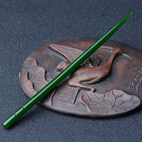 BENGKUI Skulptur,China Jade Green Bambus Haarnadel Jade Haarnadel Kopf Ornamente Mädchen Haarschmuck