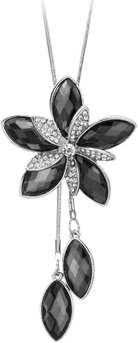 Bohemian Tassel Flower Drop Y Necklace Statement Long Chain Women Teen Girl Crystal