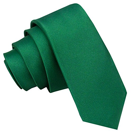 DQT Herren Einfarbig Satin Hochzeit Klassisch Schmale 5cm Krawatte - Smaragdgrün