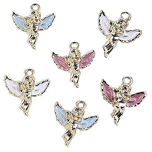 LYMHGHJ 10 Colgantes con dijes de angelitos, Colgantes de angelitos para Bailarinas, Colgantes de ángeles de la Guarda, Colgantes de aleaciones de angelitos, Accesorios de joyería Hechos a Mano para