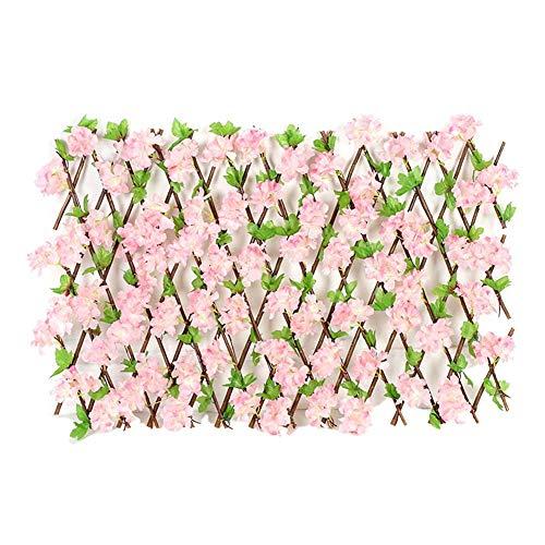 Bulary Gartengitter Erweiternde Holzgitter, Holzhecke Mit Künstlichen Blütenblättern, Einziehbarer Zaun Blumenständer Künstlicher Heckenzaun, Gartenabschirmung Erweiternder Gitter-Sichtschutz