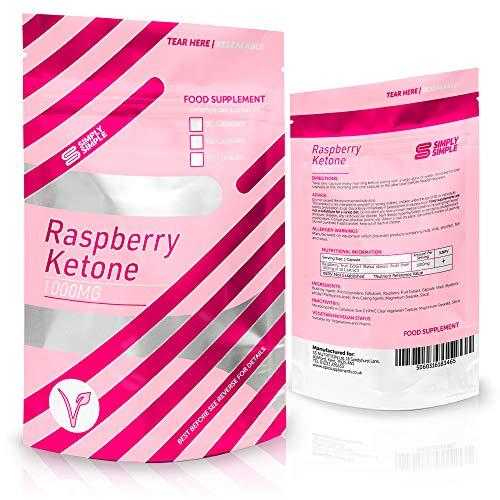 Simply Simple Raspberry Ketone 1000mg Pure Ketones Fat Burners - Vegetarian & Vegan Safe Diet Pills with Raspberry Fruit Extract