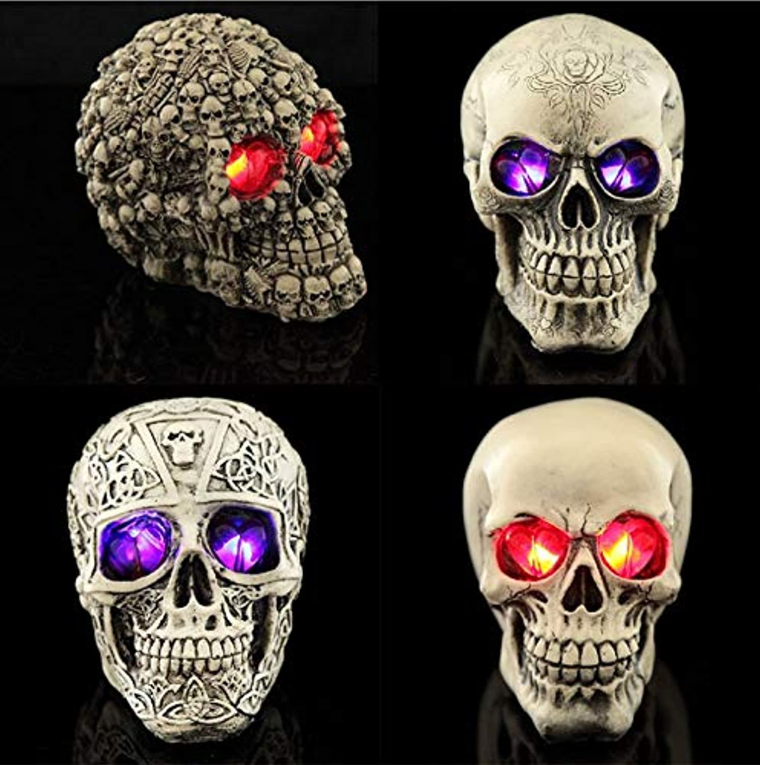 Freedom Halloween Table Decorations LED Resin Skull for Halloween Bar Table Decorations Haunted House Ornament Skull Eyes Flash Birthday Party Decoration (4Pack mixing)