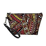 Aulaygo Bolso multifuncional del maquillaje de las señoras de las mujeres cosmético del bolso del viaje del bolso del retrete, patrón tribal del tatuaje polin, Polinesia étnica 05, Talla única,
