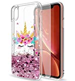Mixroom - Custodia Cover Case con Brillantini Glitter in Gel Liquidi Quicksand per iPhone 12 Fantasia UINCORNO E Best Wishes Codice 1044