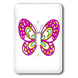 pink kids room butterfly light switch cover