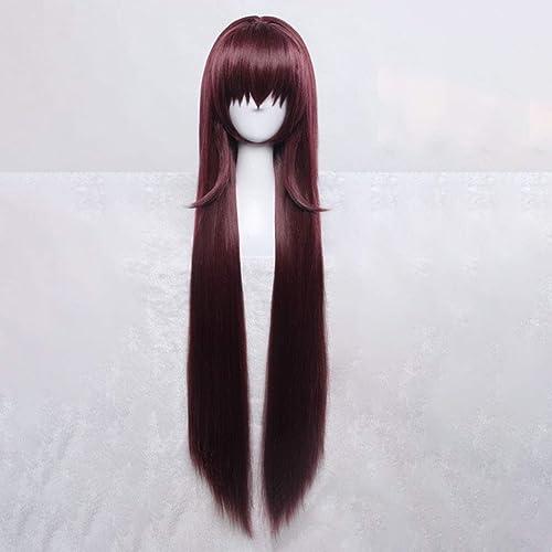ZLLAN Anime Cosplay Perücken Mesh Net Fiber HochtemperaturBeste ige Ombre Dunkelrot Lange Glatte Haare 36 Zoll
