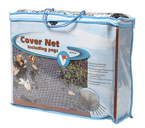 VT 148043 Abdecknetz für den Teich, 6 x 10 m, 10 Erdspieße, Cover Net, Schwarz
