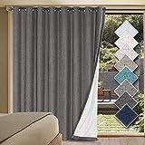 H.VERSAILTEX Linen Blackout Curtains Durable Thick Textured Linen Look 100% Blackout Patio Door Curtain Anti Rust Grommet Extra Wide Sliding Door Curtain Panel, W100 x L84 inch - Grey