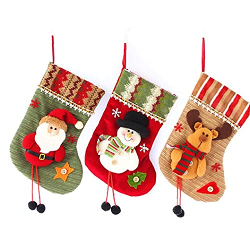 Christmas Stockings Mini Socks Christmas Decorations Gift Treat Bags for Kids Santa Snowman Reindeer 3PCS,Christmas Candy Bag Socks