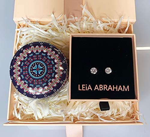 Mothers Day Gift : Present For Her : Diamante Stud Rose Gold Earrings and Scented Candle