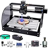 CNC Machine, MYSWEETY DIY CNC 3018PRO-M 3 Axis CNC Router Kit with 5500mW 5.5W Module + PCB Milling, Wood Carving Engraving Machine with Offline Control Board + ER11 and 5mm Extension Rod