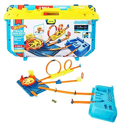 Hot Wheels Caja de pistas con lanzador Set de juego para construir pistas de juguete, con 30 piezas, incluye 1 vehículo die-cast (Mattel GVG11)