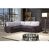 JUSThome Fiore - Sofá de esquina (piel, 252 x 200 cm), color marrón