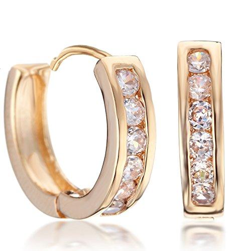 Gemini Ohrstecker (Rose Gold), attraktive Glitzer & Strass Elemente, Luxus Design, Rundform, für jeden Anlass, beliebt bei Girls & Damen, 0,8 cm Weite