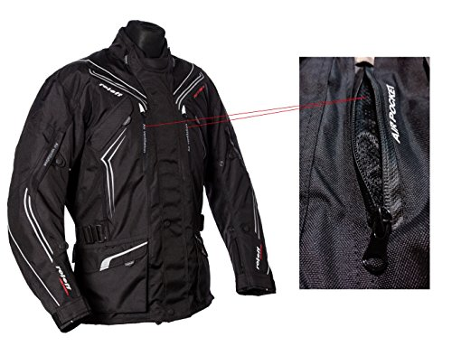 Schwarze Motorradjacke mit Protektoren, Belüftungssystem, Klimamembrane und herausnehmbarem Thermofutter - 6