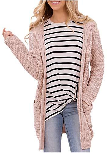 HaiDean Cárdigan De Mujer M De Cárdigan Tamaño Gran Modernas Casual Jersey De Rebeca Suéter De Punto Largo Abrigo con Bolsillos (Color : Rosa, One Size : S)