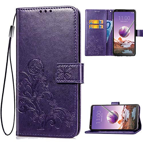 LG Stylo 4 Case, LG Q Stylus Case, [Flower Pattern] Leather Wallet Flip Protective Case Cover with Card Slots and Stand for LG Stylo 4/LG Q Stylus 2018 (Purple)