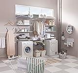 Element System Kleiderlüfter Laura für Wand, Kleiderstange zur Wandmontage klappbar, inklusive Schrauben und Dübel, Kleiderhaken weiß, 11202-00003 - 2