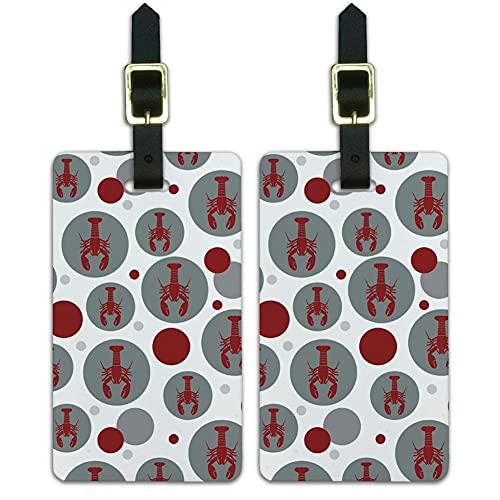 Graphics & More Maleta de equipaje con etiquetas de identificación de langosta rojo fresco mariscos crustáceo-gris, blanco