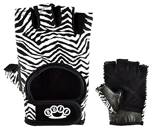 Zebra Weightlifting Gloves By RUFF BEST Women's Workout Gloves, Leather Palms, Comfortable Fit,...