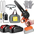 Mini Chainsaw 6 Inch 1500mAh Portable One-Hand Cordless Power Battery Chain Saws For Tree Trimming and Branch Wood Cutting Chainsaws Incl. 2 Battery+2 Chain