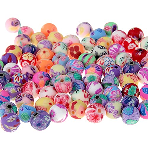 NTZ 50 piezas/lote de cuentas de arcilla polimérica de impresión de flores patrón redondo cuentas sueltas mezcla de colores para hacer joyas YC0503 (diámetro del artículo: 8 mm)