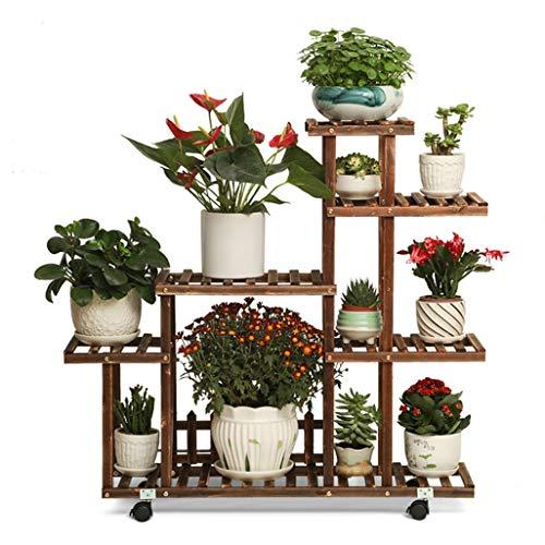 6 Tier Bloemenplank Plantenrekken met Wiel Hoekplanken voor 11 Plantenpotten Houderrek met Hek 100X25X90Cm, BGJ Meerkleurig