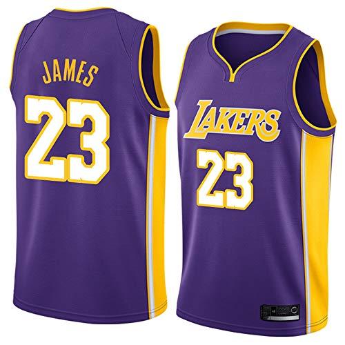 Hanbao NBA Lakers 23# James Maglia da Basket per Uomo Jersey, Nuovo Tessuto Ricamato Camicia T-Shirt Sportive Swingman