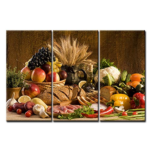 First Wall Art - Brown Fresh Food Grape Apple Fruit in Basket Bread Oion Little Tomato Sweet Pepper Cauliflower Wheat Gather On The Table Wall Art Painting Print On Canvas Food Pictures for Home