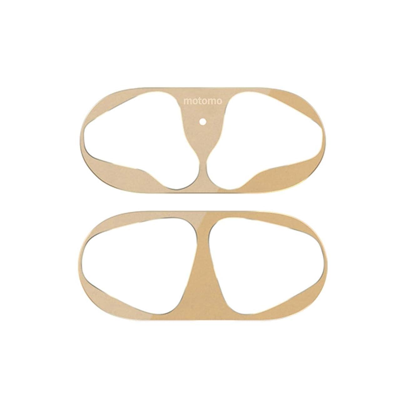 三角上下するのみmotomo AirPods用 Dust Guard 金属粉侵入防止シール ゴールド エアーポッズ ダストガード for AirPods 粉塵 防塵 第1世代対応 第2世代収納可能 金属製 汚れ防止 【日本正規代理店品】