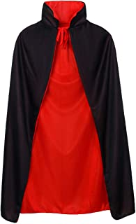 Vampire Dracula Devil Cloak Cape Medieval Reversible Halloween Cosplay Costume Outfit for Kids Children Black Red 90cm/35.5