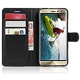 Guran® PU Leder Tasche für Asus Zenfone 3 ZE520KL (5.2 Zoll) Smartphone Flip Deckung Stehen Funktion & Karte Slot Hülle-schwarz