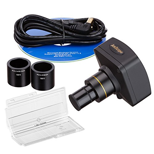 AmScope MU1400-CK Digital Microscope Camera for Still and Video Images, 40x Magnification, 0.5x Reduction Lens, Eye Tube or C-Mount, USB 2.0 Output, Includes Software and Calibration Slide