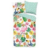 Aminata Kids Bettwäsche 135 x 200 Flamingo-Motiv Baumwolle mit Reißverschluss, Tropical mit Pelikan-Motiv und Obst - Wende-Bettwäsche-Set weich & kuschelig