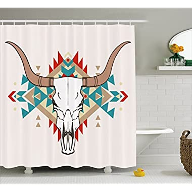 Ambesonne Western Shower Curtain by, Bull Skull Illustration with Ethnic Ornament Tribal Geometric Aztec Style, Fabric Bathroom Decor Set with Hooks, 70 Inches, Warm Taupe Red Blue