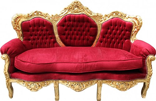 Barock Sofa King Bordeaux Rot/Gold Mod2 - Möbel Lounge Couch