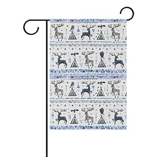 SUNOP Polyester Garden Drapeau Animal Wildlife Cerf Bannière 30,5 x 45,7 cm pour extérieur Home Garden Pot de Fleurs Décor fête Maison Drapeau, Multicolore, 12x18(in)