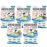 Cuculo Magische Kapseln für die Badewanne, Vorteilspack 4 + 1 frei, 60 farbige Kapseln, die in warmem Wasser zu verschiedenen Formen Werden, Badewannen-Aufkleber, Badespielzeug für tollen Badespaß