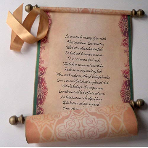"""Wide decorative custom printed scroll, 8x17"""" parchment paper, for your wedding vows, anniversary gift, theater prop or religious service"""