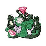 ID 0569 Frogs On Lily Pad Patch Playing Music Embroidered Iron On Applique
